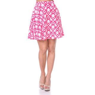 White Mark Women's Solid Color Flared Mini Skirt (Pink/ White)
