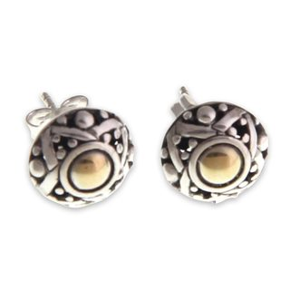 Handcrafted Gold Overlay 'Majapahit Shield' Earrings (Indonesia)