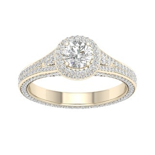 De Couer 14k Yellow Gold 1 1/4ct TDW Diamond Split-Shank Halo Engagement Ring (H-I, I2)