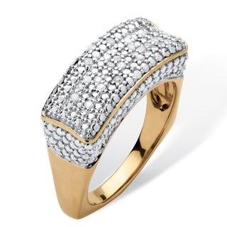 Palm Beach 18k Gold over Sterling Silver 1/5ct TDW Diamond Square Back Bar Ring (H-I, I2-I3)