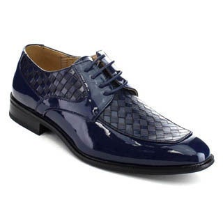 UV Signature UV006 Men's Shiny 4-eyelet Lace Up Woven Dress Oxfords