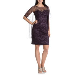 Ignite Evenings By Carol Lin Women's Beaded Illusion Soutach Sheath Dress