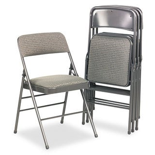 Cosco Deluxe Cavallaro Dark Gray Fabric Padded Seat & Back Folding Chairs (Set of 4)