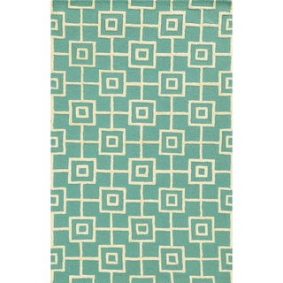 Rizzy Home Eden Harbor Hand-Tufted Blue Geometric Blended Wool Area Rug (3' x 5')