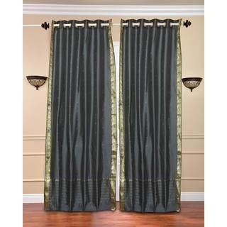 43 x 84 Dark Grey Ring-top Sheer Sari Curtain Panel (India)