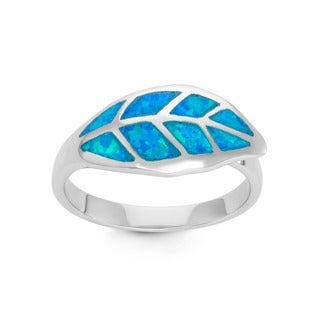 La Preciosa Sterling Silver Blue Opal Leaf Ring