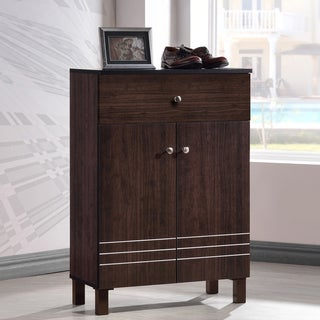 Baxton Studio Riker Contemporary Wenge Shoe Cabinet With 2 Doors And 1 Drawer
