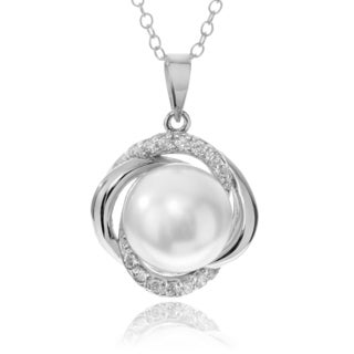 Journee Collection Rhodium-plated Sterling Silver CZ Pearl Pendant