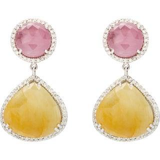 14k White Gold Multi Color Natural Sapphire And 3/5ct TDW Diamond Slice Earrings (H-I, I1-I2)