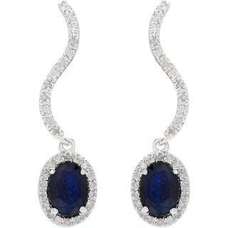Viducci 10k White Gold Oval Gemstone 1/3ct TDW Diamond Earrings (G-H, I1-I2)