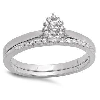10k White Gold 1/4ct TDW Marquise and Round Diamond Halo Bridal Ring Set (H-I, I1-I2)