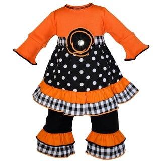 AnnLoren Autumn Orange and Black Polka Dot Doll Dress/ Pants Outfit