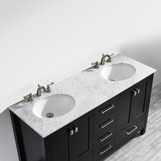 Gela 60-inch Double Vanity in Espresso with Carrera White Marble Top (Mirrorless)