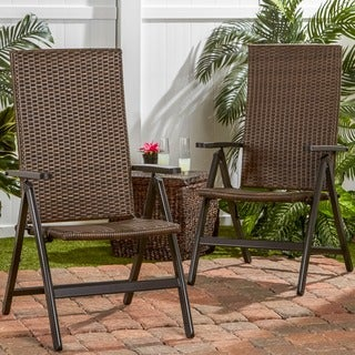 Hand Woven PE Wicker Outdoor Reclining Chairs, Set of Two