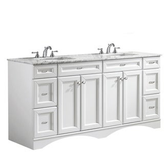 Naples 72-inch Double Vanity in White with Carrera White Marble Top (Mirrorless)