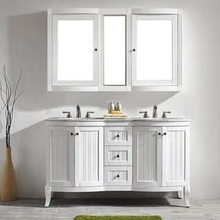 Verona 60-inch Double Vanity in White with Carrara White Marble Top with Mirror