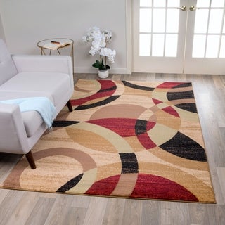 Contemporary Modern Circles Multi Area Abstract Rug (3'3 x 5')