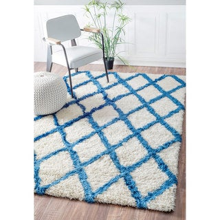 nuLOOM Handmade Modern Soft and Plush White Trellis Shag Rug (8'6 x 11'6)