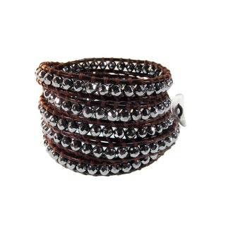 Beautiful Faceted Hematite 'Journey' Leather Cuff Wrap Bracelet