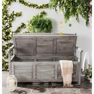 Safavieh Outdoor Living Brisbane Grey Storage Bench