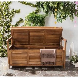 Safavieh Outdoor Living Brisbane Teak Brown Storage Bench