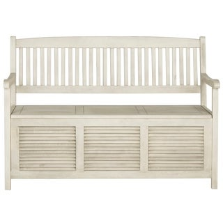Safavieh Outdoor Living Brisbane Distressed White Storage Bench