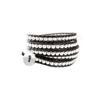 Dakota Dark Brown Leather and Silver Tone Bead 5x Wrap Bracelet