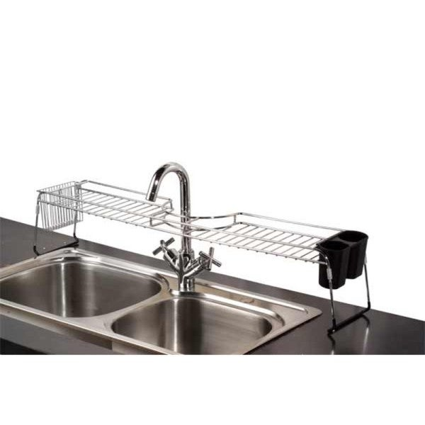 Home Basics Chrome Over The Sink Shelf Overstock Shopping Top Rated Kitchen Pantry Storage