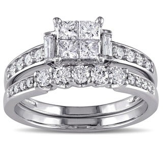 Miadora 10k White Gold 1ct TDW Princess-cut Diamond Bridal Ring Set (G-H, I1-I2)