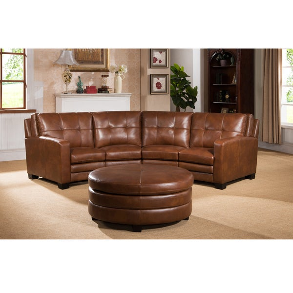 oakbrook brown curved top grain leather sectional sofa and ottoman overstock shopping big