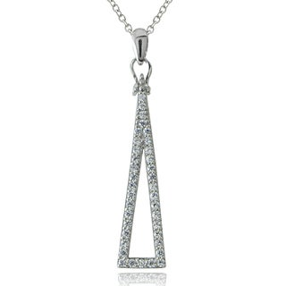 ICZ Stonez Sterling Silver Cubic Zirconia Skinny Triangle Necklace