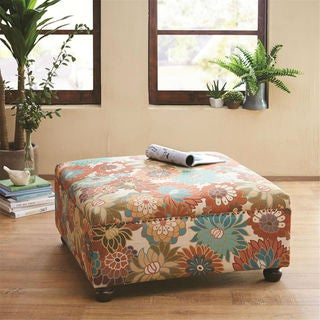 Carlyle Floral Upholstered Cocktail Ottoman