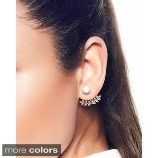 Eternally Haute Helena Pave Cubic Zirconia and Freshwater Pearl Front-back Ear Cuffs