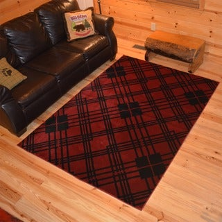 Lodge Plaid Scottsdale Red Area Rug (5'3x7'3)