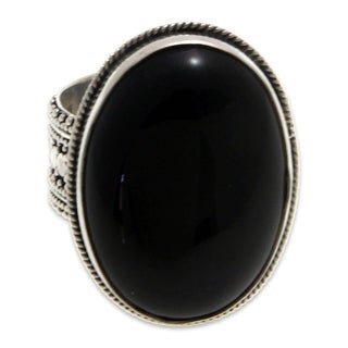 Handcrafted Sterling Silver 'Oracle' Onyx Ring (Indonesia)