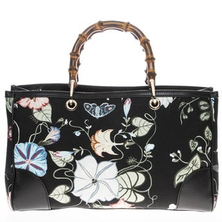 Gucci Bamboo Shopper Flora Knight Canvas Tote
