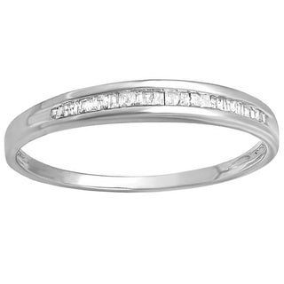 Sterling Silver 1/8ct TDW Baguette-cut Diamond Stackable Anniversary Band (I-J, I2-I3)