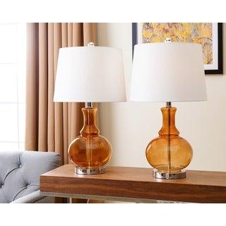 Abbyson Living Ellis Amber Glass Table Lamp (Set of 2)