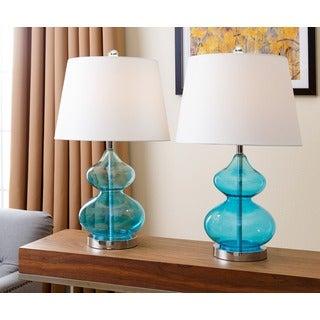 ABBYSON LIVING Sophia Turquoise Glass Table Lamp (Set of 2)