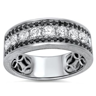 Noori 14k White Gold Men's 1 1/2ct TDW Certified Black Diamond Wedding Band (G-H, VVS1-VVS2)