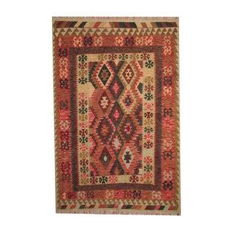 Herat Oriental Afghan Hand-woven Tribal Vegetable Dye Kilim Rust/ Tan Wool Rug (5'8 x 8'7)
