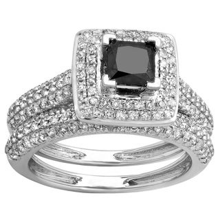 14k White Gold 1 2/5ct TDW Princess and Round Black and White Diamond Halo Bridal Ring Set (H-I, I1-I2)