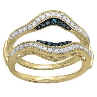 14k White Gold 1/2ct TDW Round Blue and White Diamond Band Guard Double Ring Enhancer (H-I, I1-I2)
