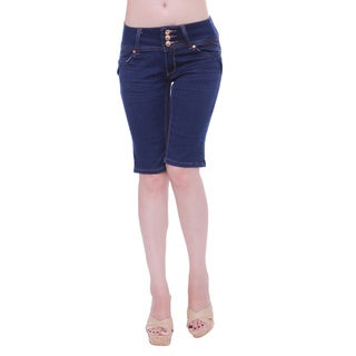 Sexy Couture Women's S2117-b Mid Rise 3-button Knee Length Denim Shorts