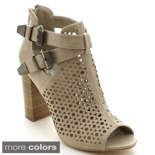 Shake Collection Candie Women's Peep Toe Mesh Buckle Chunky Heel Ankle Booties