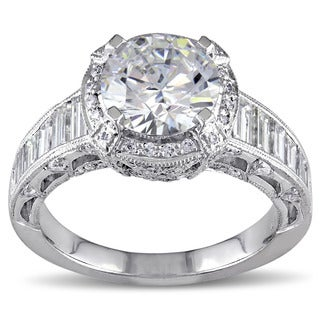 Miadora 18k White Gold Cubic Zirconia and 1 1/3ct TDW Diamond Ring (G-H, SI1-SI2)