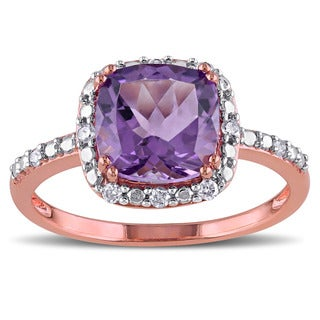 Miadora 10k Rose Gold Amethyst and 1/10ct TDW Diamond Ring (G-H, I2-I3)