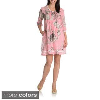 La Cera Women's 3/4 Sleeve Printed Tunic Dress