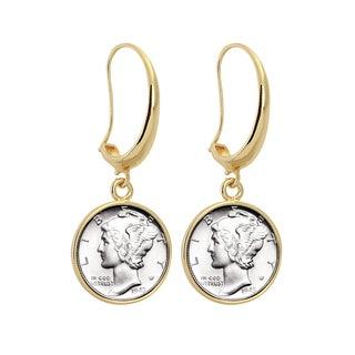 American Coin Treasures Goldtone Silver Mercury Dime Earrings