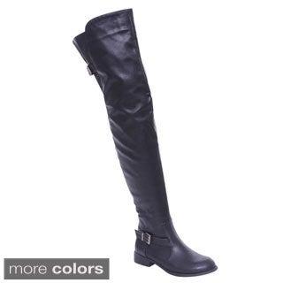 De Blossom Collection Renee-13 Women Buckle Side Zipper Thigh High Riding Boots